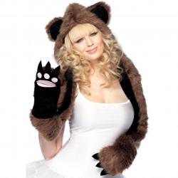 Capuz Cachecol Urso com Luvas em formato de Patas Marrom