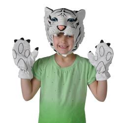 Máscara e Luvas de Tigre Branco