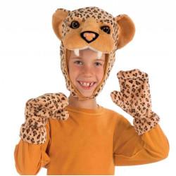 Máscara e Luvas Leopardo