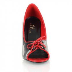 Sapato Alto Adulto Preto Vermelho