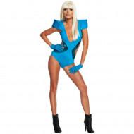 Fantasia Adulto Feminino Lady Gaga Maiô Azul