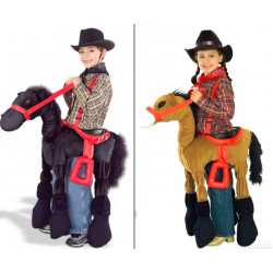 Fantasia Montar Cavalo Cowboy Infantil Marrom e Preto