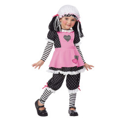 Fantasia Boneca de Pano Rosa Infantil