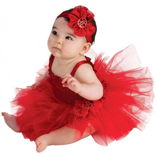 Fantasia Infantil Doce Joaninha Bailarina Vermelho Luxo