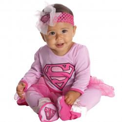 Fantasia Infantil Super Garota Supergirl Rosa Bebê