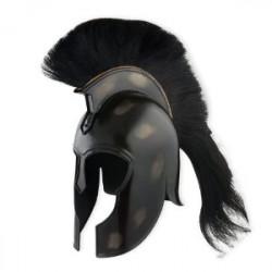 Capacete Medieval de Metal Armadura Grega Negra