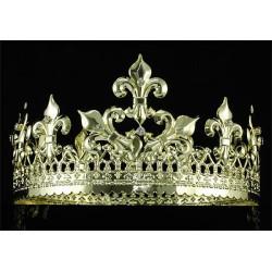 Coroa de Rei com Pedras Luxo Prateada e Dourada