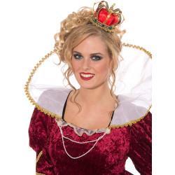 Tiara Coroa Dourada e Vermelha Rainha de Copas Adulto Luxo