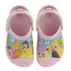 Sapato Crocs Infantil Princesas Rapunzel Bela e Aurora Disney