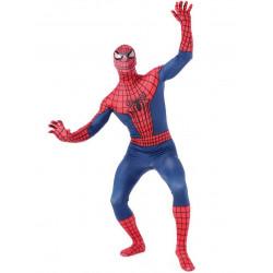 Fantasia Adulto Homem Aranha Spider Man Spandex Vermelho e Azul