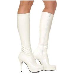Bota Adulto Feminino Branca Flor Plataforma