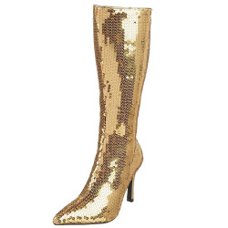 Bota Lantejoula Dourada Luxo Sexy