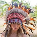Cocar Indígena Adulto Laranja