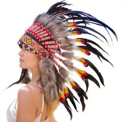 Cocar Indígena Adulto Laranja e Vermelho