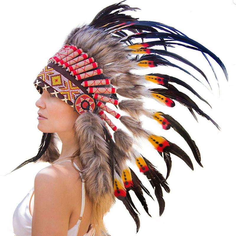 Cocar Indigena Adulto Laranja E Vermelho