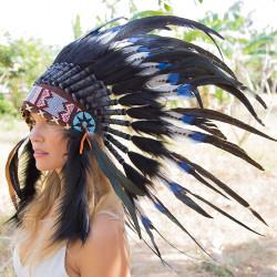 Cocar Indígena Adulto Pontas Azuis