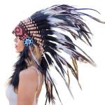 Cocar Indígena Adulto Preto e Branco