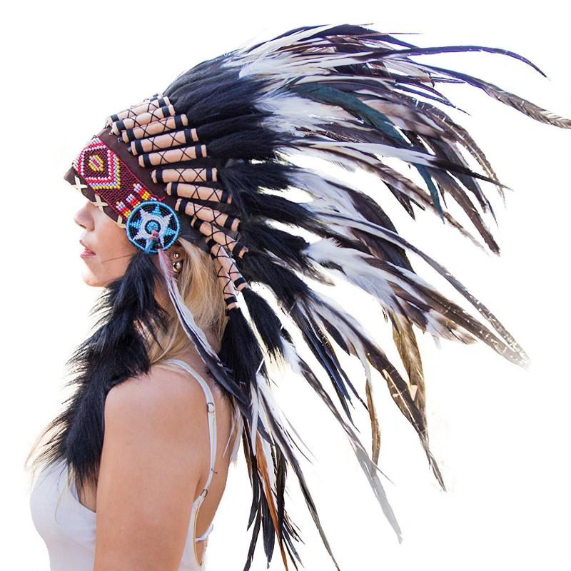 Cocar Indigena Adulto Preto E Branco