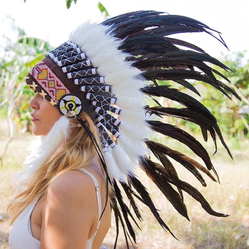 Cocar Indigena Adulto Preto Elegante
