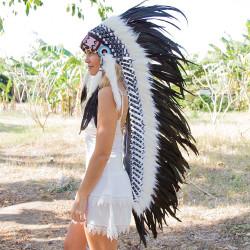 Cocar Indígena Adulto Preto Longo