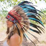 Cocar Indígena Adulto Turquesa