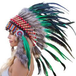Cocar Indígena Adulto Verde