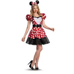 Fantasia Adulto Minnie Mouse Vermelha Coração