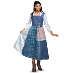 Fantasia Bela Vestido Azul Bela e a Fera Adulto Clássica