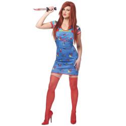Fantasia Boneco Assassino Chucky Adulto Feminino Luxo