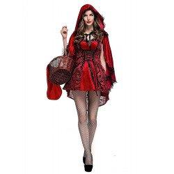 Capa Chapeuzinho Vermelho adulto Feminino Gótico Luxo