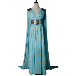 Fantasia Daenerys Targaryen Khaleesi Game of Thrones Adulto Vestido Azul