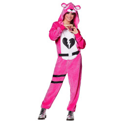 Fantasia Fortnite Urso Rosa Adulto Luxo