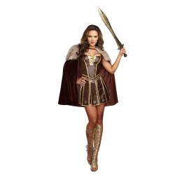 Fantasia Gladiadora Rainha Guerreira Romana Sexy Luxo