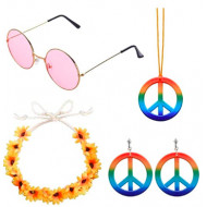 Fantasia Infantil Hippie Colar Óculos Brincos e Tiara