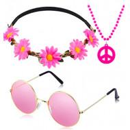 Fantasia Infantil Hippie Colar Óculos e Tiara