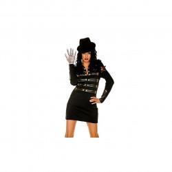 Fantasia Michael Jackson Feminina Preta Luxo