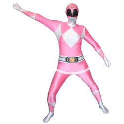 Fantasia Power Rangers Luxo Rosa Adulto