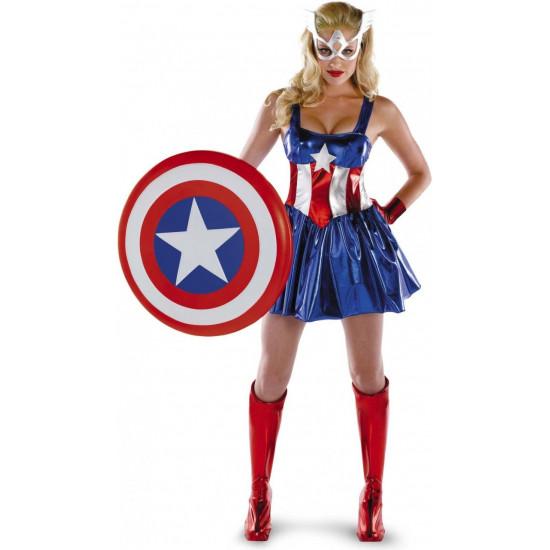 Fantasia Vestido Capitão América Adulto Sexy Feminino