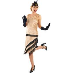 Fantasia Vestido de Franjas Anos 20 Adulto Luxo Bege