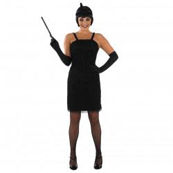 Fantasia Vestido de Franjas Anos 20 Adulto Luxo Preto