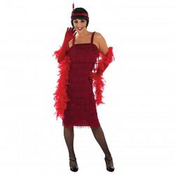 Fantasia Vestido de Franjas Anos 20 Adulto Luxo Vermelho