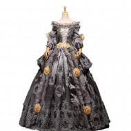 Fantasia Vestido Maria Antonieta Cinza Medieval Renacença Vitoriano