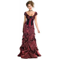Fantasia Vestido Saloon Renasença Adulto Luxo