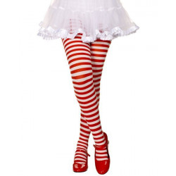 Meia Calça Adulto Listradas Vermelha e Branca