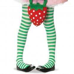 Meia Calça Infantil Listradas Branco e Verde