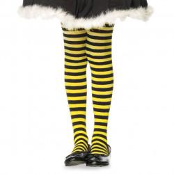 Meia Calça Infantil Listradas Preto e Amarelo