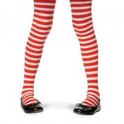 Meia Calça Listradas Vermelha e Branca Infantil