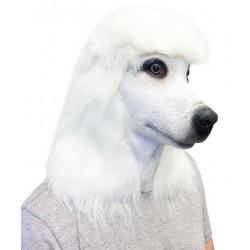 Máscara de Cachorro Poodle Branco Vinil Animal Luxo