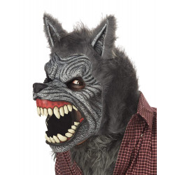 Máscara Lobo Lobisomem Luxo Adulto Motion Cinza