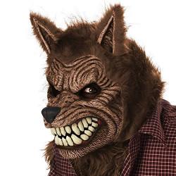 Máscara Lobo Lobisomem Luxo Adulto Motion Marrom